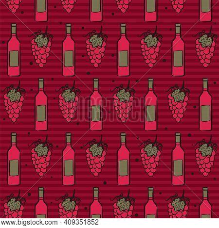 Seamless Pattern From Hand Drawn Wine Bottles, Glasses, Vines. Dark Red Background With Vineyard. Gr