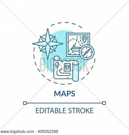 Maps Concept Icon. Online Library Catalogue Idea Thin Line Illustration. Variety Of Cards. New Techn