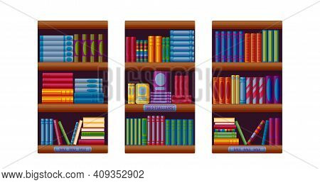 Bookshop Racks With Bestsellers And Sale Options. Set For Bookstore Shelves In Cartoon Style. Vector