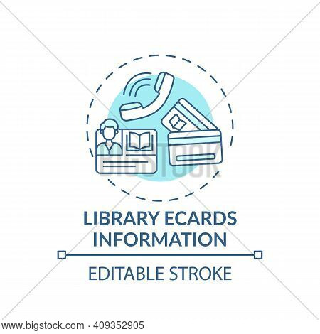 Library Ecards Information Concept Icon. Online Library Helpline Idea Thin Line Illustration. User R