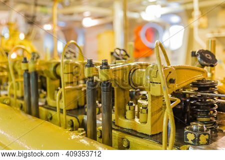 Engine compartment of retro cruise liner - technology background