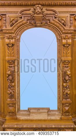Old wooden mirror - abstract background