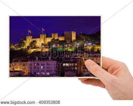 Hand and Fortress of Saint George - Lisbon Portugal (my photo) isolated on white background