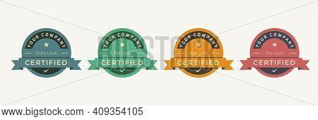 Certified Logo Badge Template. Digital Certification Emblem With Vintage Concept Design. Vector Illu