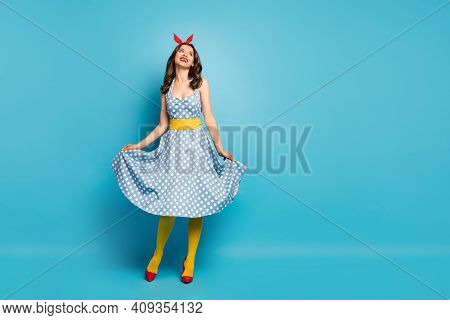 Full Body Photo Cheerful Lovely Charming Girl Enjoy Spring Rest Relax Look Copyspace Touch Her Retro