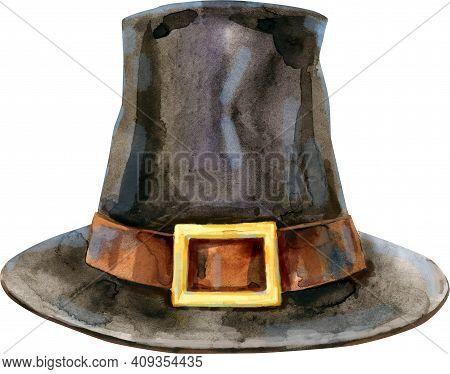 Hand-drawn Pilgrim Hat. Illustration On A Thanksgiving Holidays.