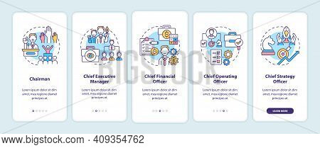 Top Management Positions Onboarding Mobile App Page Screen With Concepts. Chief Executive Manager Wa