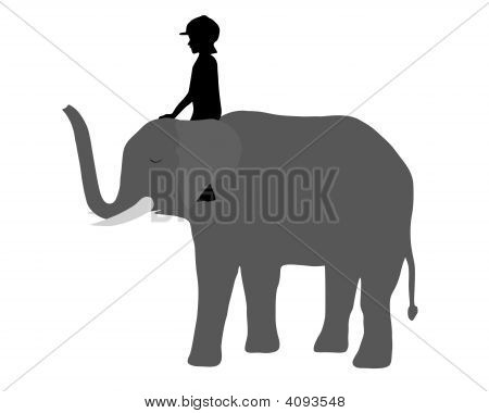Young Girl is riding on an elephant poster