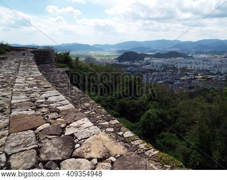 Gimhae, South Korea, September 3, 2017: View Of The City Of Gimhae. South Korea From Bunsanseong For