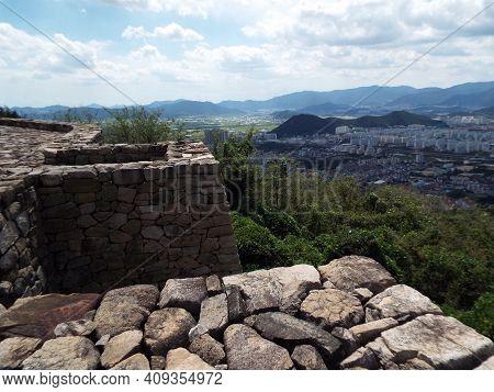 Gimhae, South Korea, September 3, 2017: The City Of Gimhae. South Korea Seen From Bunsanseong Fortre