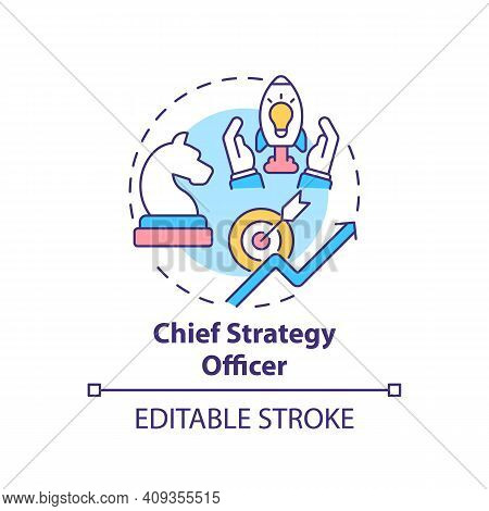 Chief Strategy Officer Concept Icon. Top Management Positions. Developing Corporate Initiatives. Bus