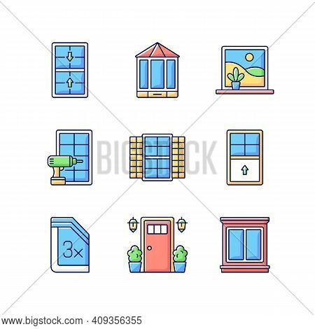 Installation Services Rgb Color Icons Set. Double-hung Windows. Entry Doors. Extending Beyond Exteri