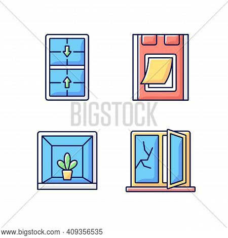 Installing Windows And Doors Rgb Color Icons Set. Double-hung Windows. Pet Doors. Keeping Indoor Gar