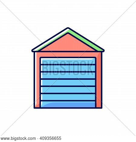Garage Doors Rgb Color Icon. Storage Space. Parking Car In Garage. Safety And Liability. Keeping Veh