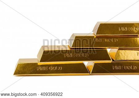 Stairs made of gold bars isolated on white background