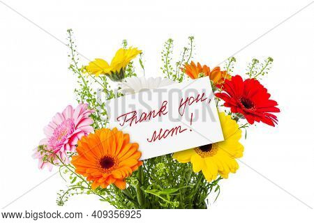Flowers bouquet and greeting card isolated on white background