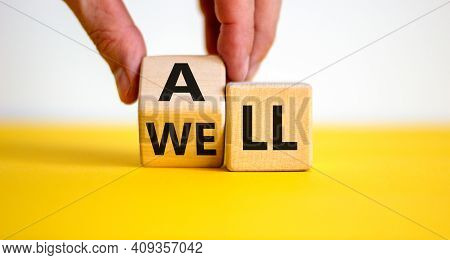 All Is Well Symbol. Businessman Turns Cubes With Words All Well. Beautiful Yellow Table, White Backg