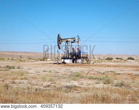 Old Oil Rocking Chair. Oil Field In The Mangistau Region. Kazakhstan. 17 August. 2019 Year.
