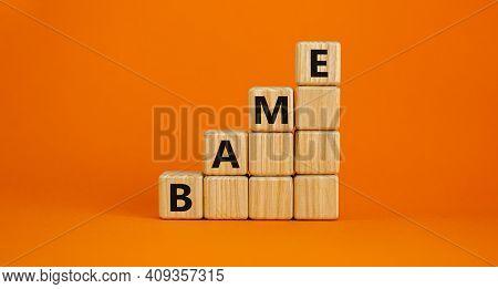 Bame Symbol. Abbreviation Bame, Black, Asian And Minority Ethnic On Wooden Cubes. Beautiful Orange B