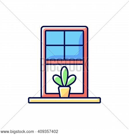Windowsills Rgb Color Icon. Window Ledge. Horizontal Structure At Window Bottom. Structural Integrit