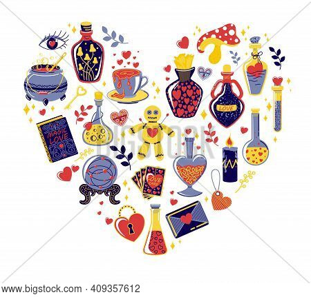 Love Potion Beautiful Bottles With Hearts Set. Love Potion. Doodle Magical Elixir. Bottles And Vials