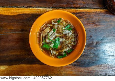 Duck Noodle Or Rice Vermicelli With Stewed Duck Meat In Spices Soup, This Is Delicious Local Cuisine