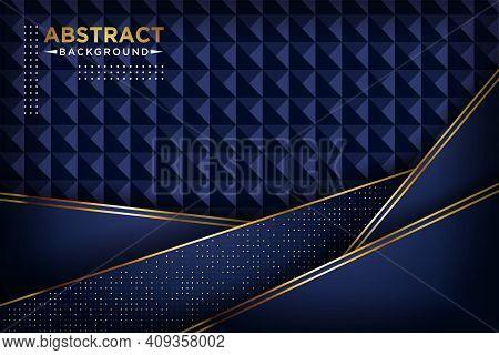Luxurious 3d Dark Navy Blue Overlap Background With Golden Lines Golden Glitters Dots. Elegant Moder