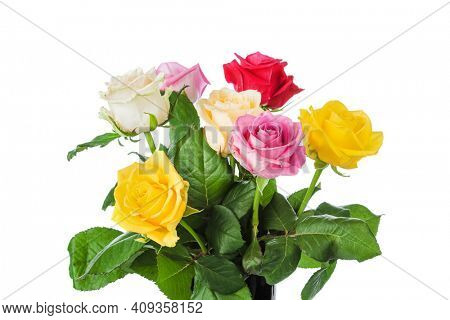 Bouquet of flowers roses isolated on white background
