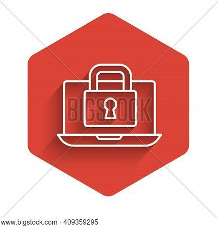 White Line Laptop And Lock Icon Isolated With Long Shadow. Computer And Padlock. Security, Safety, P