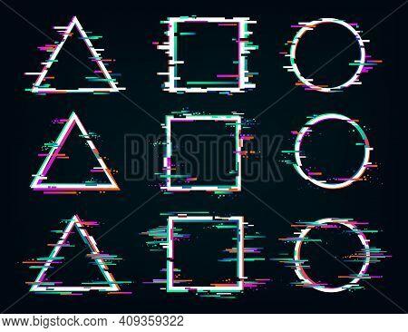 Distorted Glitch Frames. Glitched Circle, Square And Triangle Frames. Distortion Digital Glitch Vide