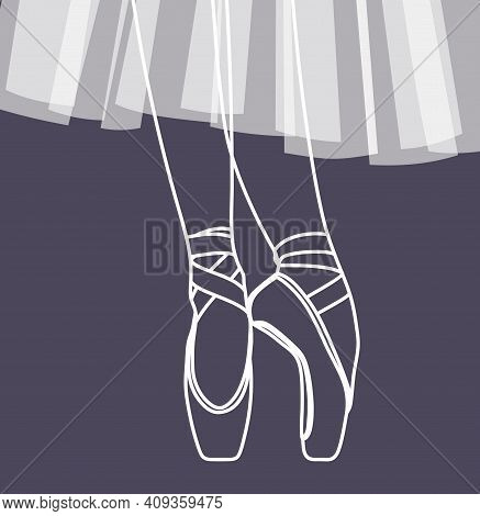 Vector Gentle Illustration With A Ballerina. Pointe Shoes And Ballerina Tutu. Opera And Ballet Theat