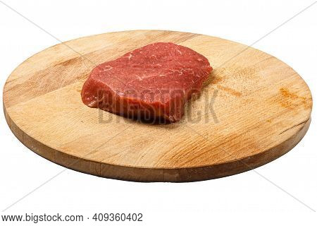 Sirloin Tip Side Steak Raw Beef Steak On A White Background. Isolated.