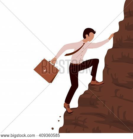 A Young Brave Business Man Climbs A Steep Mountain. Case In Hand. Career And Effort Concept. Vector