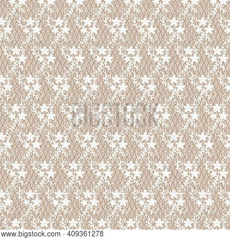 Pattern With White Lace Flowers On A Brown Background