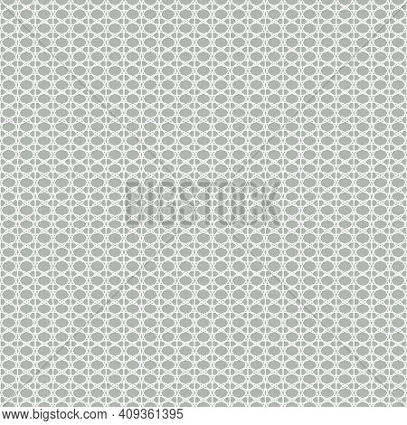 Seamless White Lace With Mesh Pattern On Gray Background