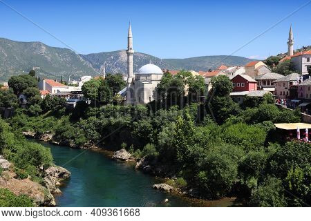 Mostar City In Bosnia And Herzegovina. Old Town View With River Neretva.