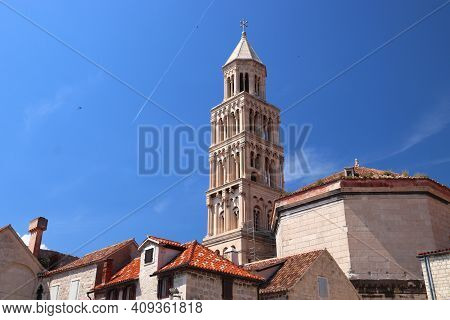 Split Landmark. Old Town In Croatia. Unesco World Heritage Site Landmark. Cathedral Campanile.