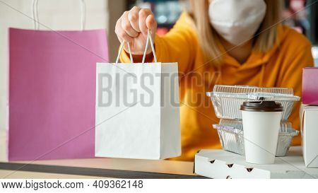 Takeaway Food Paper Bag Mock Up. Food Bag Drink Coffee To Go In Takeaway Restaurant. Kitchen Worker