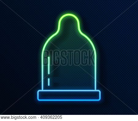Glowing Neon Line Condom Icon Isolated On Blue Background. Safe Love Symbol. Contraceptive Method Fo