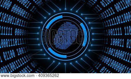 Fingerprint Logo Centered Into Hud Elements With Information Connecting Lines - Binary Code Arranged