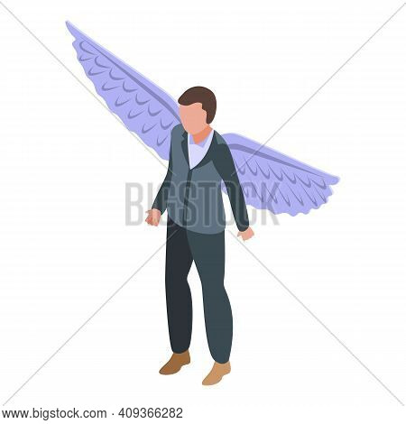 Angel Man Icon. Isometric Of Angel Man Vector Icon For Web Design Isolated On White Background