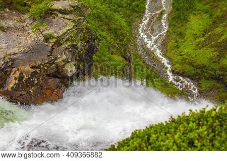 Highest Freefall Waterfall Vettisfossen From Above Utladalen Norway Norwegian Landscapes.
