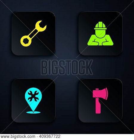 Set Wooden Axe, Wrench Spanner, Location With Wrench And Builder. Black Square Button. Vector
