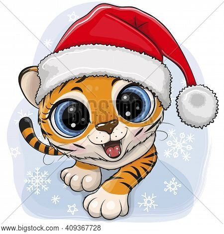Cute Cartoon Tiger Creeping Up Ion A Blue Background