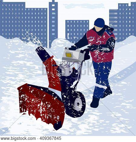 Snowblower, Worker In Overalls, Winter City Landscape, Snowdrifts - Vector.
