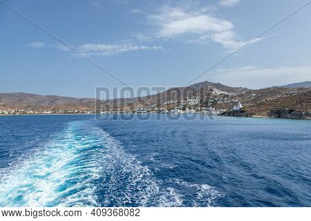 Chora, Ios Island, Greece- 26 September 2020: View Of The Port And Agia Irini, Saint Irene, Greek Or