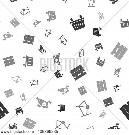 Set Bicycle Basket, Frame, Lane And Pedals On Seamless Pattern. Vector