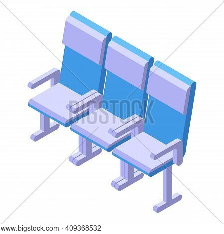 Airport Seats Icon. Isometric Of Airport Seats Vector Icon For Web Design Isolated On White Backgrou