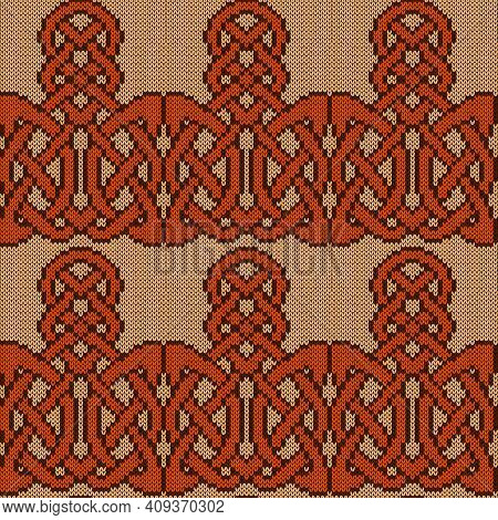 Ornate Knitting Seamless Vector Pattern In Beige, Orange And Brown Colors As A Fabric Texture