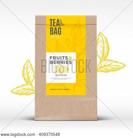 Craft Paper Bag With Fruit And Berries Tea Label. Abstract Vector Packaging Design Layout With Reali